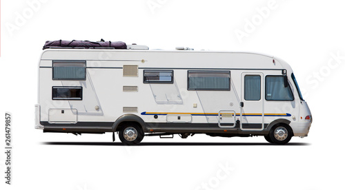Fotografering Classic German motorhome side view isolated on white