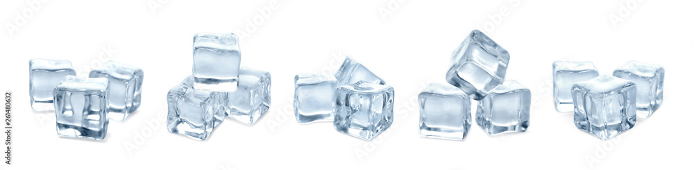 Fototapeta Set of crystal clear ice cubes on white background