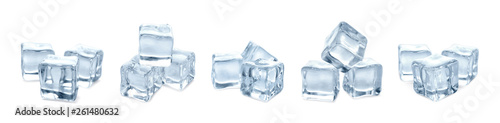 Photographie Set of crystal clear ice cubes on white background