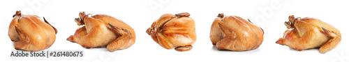 Fotografía  Set of delicious roasted turkey on white background