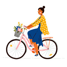 Girl On A Bicycle With Flowers