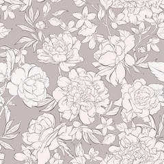 Panel Szklany Peonie Vintage seamless pattern with blossoming peony flowers, rose flowers on beige with wildflowers. Vector illustration. Pastel colours.