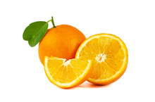 Navel Orange Isolated On White Background.