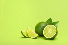 Limes On Green Background Copyspace