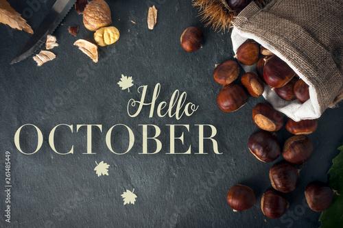 Obraz Hello october card. Roasted chestnuts on a rock table. - fototapety do salonu