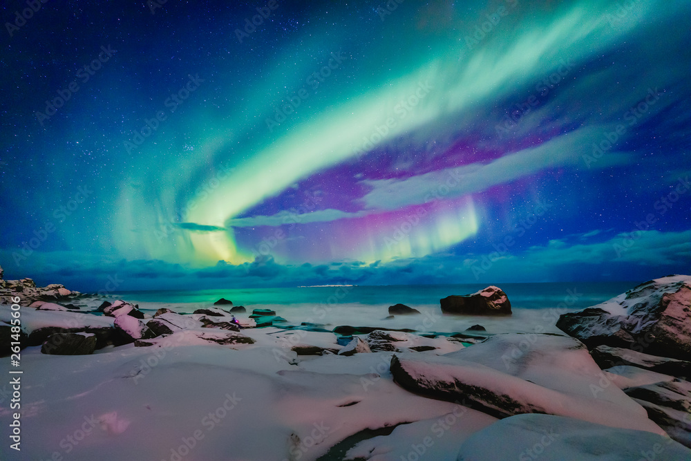 Fototapety, obrazy: Amazing phenomenon - Aurora Borealis   over Uttakleiv Beach on Lofoten islands in Norway, Scandinavia, Europe. Northern lights - green ray of light in high stratosphere levels. Night winter landscape.