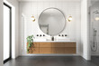 Leinwanddruck Bild 3d rendering of a modern minimal white bathroom with big round mirror