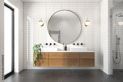 3d rendering of a modern minimal white bathroom with big round mirror