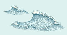 Wave. Hand Drawn Engraving. Ed...
