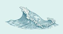 Wave. Hand Drawn Engraving. Ed...