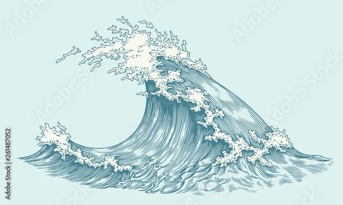 Montage in der Fensternische Licht blau Wave. Hand drawn engraving. Editable vector vintage illustration. Isolated on light background. 8 EPS