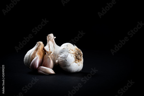Fresh Garlic on Black Background
