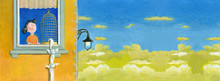 Where Is My Bird Surreal Illustration Banner Acrylic Painting