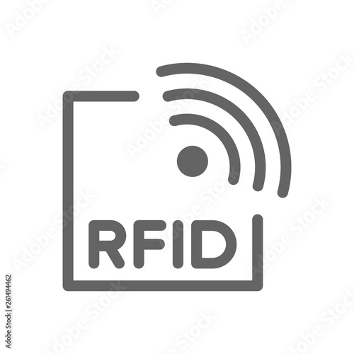 Fototapety, obrazy: RFID with radio waves line icon.