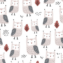 Seamless Pattern With Owls And...