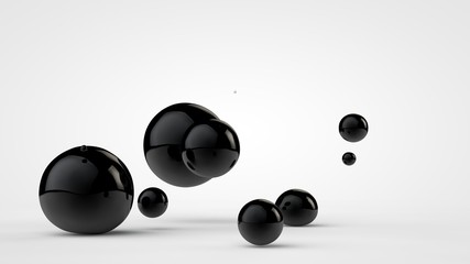 3D image of black balls in space. Balls of different sizes isolated on white background. Abstract, futuristic image of contrast of black and white. 3D rendering, illustration.