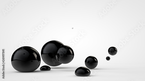 Fényképezés  3D illustration of black deformed balls around white ball, isolated image on white background