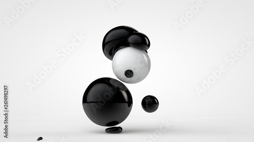 3D illustration of black deformed balls around white ball, isolated image on white background Fototapeta