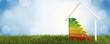 Leinwandbild Motiv 3d-illustration symbol house energy efficiency