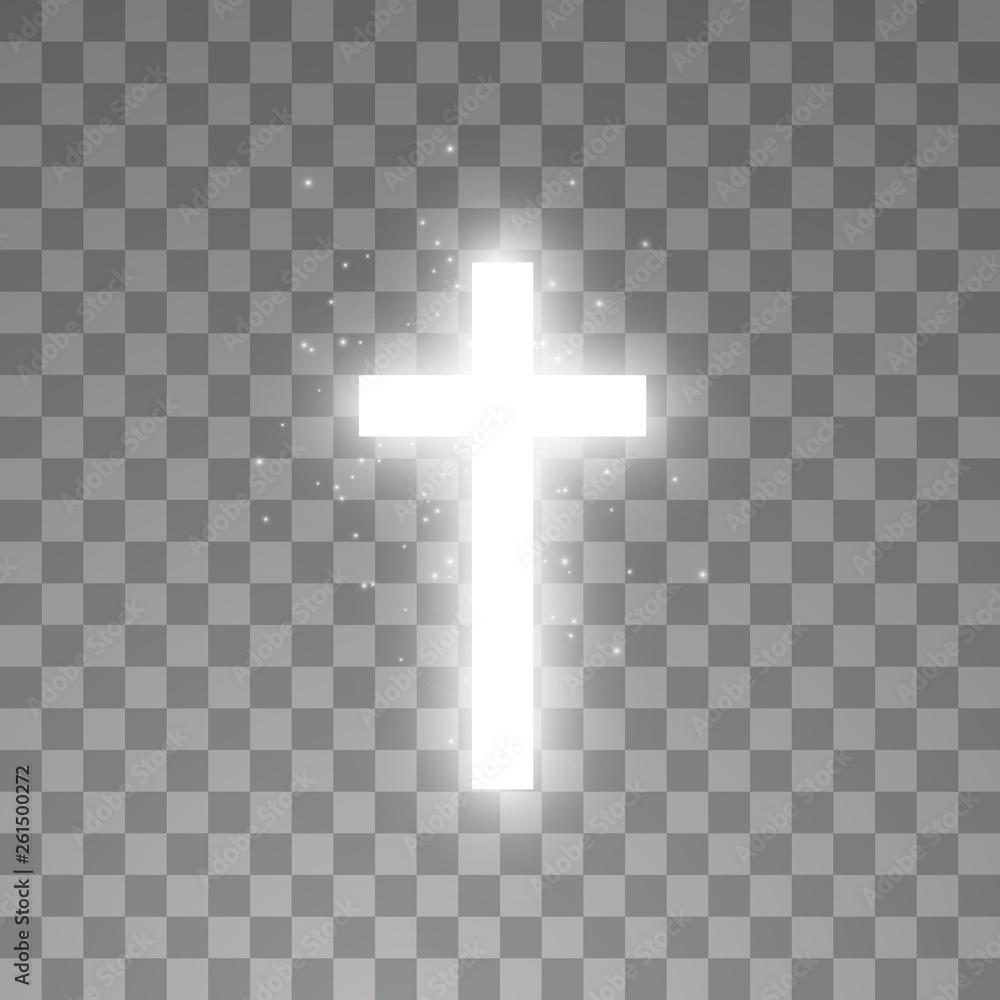 Fototapety, obrazy: Shining white cross on transparent background. Glowing saint cross. Vector illustration