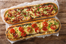 Delicious Casserole Sandwich With Bacon, Mushrooms, Tomatoes And Mozzarella Cheese Close-up. Horizontal View Top