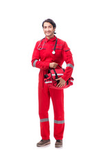 Young Paramedic In Red Uniform...