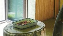 Dish With Bird Food, Fruits