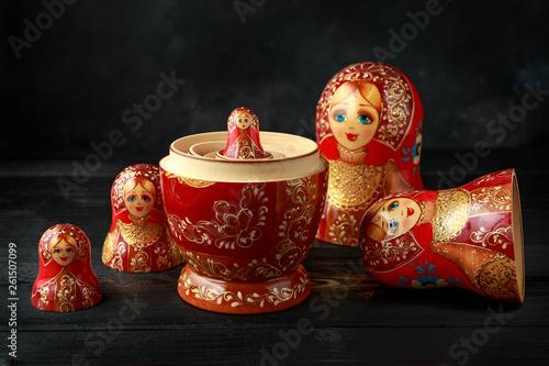 Fototapeta Beautiful Russian traditional nesting dolls matreshka