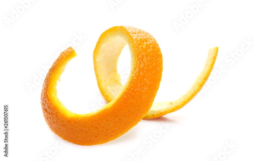 Orange peel isolated on white background Canvas Print