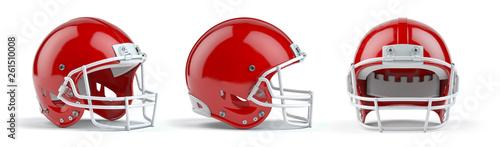 Set czerwoni futbol amerykański hełmy odizolowywający na białym tle.