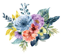 Watercolor Vintage Floral Rose Sunflower Peony Gerbera And Abstact Flower Or Leaves Composition Pink Navy Blue Marsala Yellow Coral Purple Magenta And Garnet Floral Bouquet Feathers Isolated