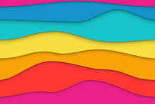 Seamless Colorful Wavy Paper Layers Background