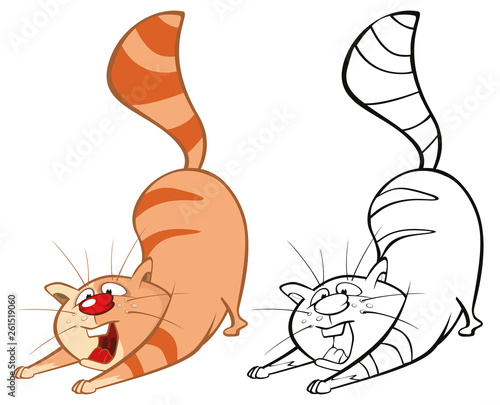 Foto auf AluDibond Babyzimmer Vector Illustration of a Cute Cartoon Character Cat for you Design and Computer Game. Coloring Book Outline Set