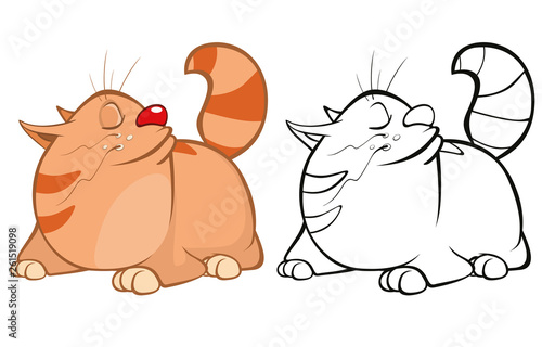 Vector Illustration of a Cute Cartoon Character Cat for you Design and Computer Game. Coloring Book Outline Set