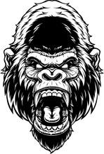 Head Of Fierce Gorilla