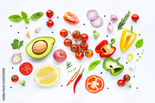 Fotobehang Groenten Various fresh vegetables and herbs on white background. Healthy eating concept