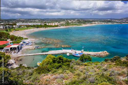 Poster de jardin Europe Méditérranéenne Kolymbia beaches with the rocky coast and bright sea in Rhodes island, Greece.