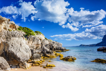 Kolymbia beaches with the rocky coast and bright sea in Rhodes island, Greece.