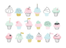 Set Of Cute Vector Cupcakes And Muffins. Hand Drawn Birthday Party Icons. Greeting Card, Invitation, Poster Illustrations