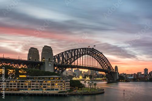 Deurstickers Australië Sydney Harbour Bridge and North Sydney cityscape on sunset