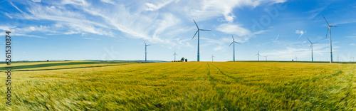 Panorama Windrad mit Kornfeld Fototapete