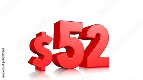 Fotografia  52$ fifty two price symbol