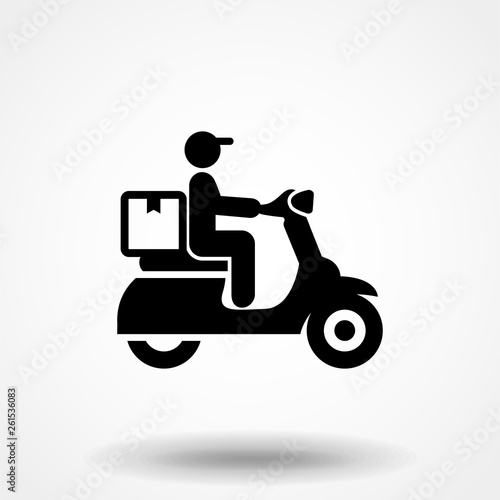 Courier on a motor scooter black icon, vector sign on isolated background Slika na platnu