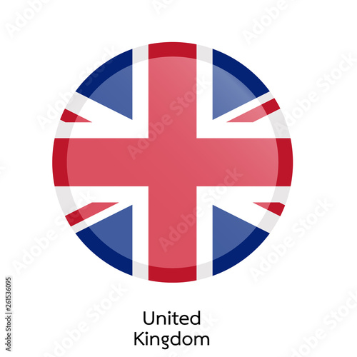Photo  Flags of United Kingdom circle shaped design.Vector