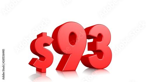 Valokuva  93$ Ninety three price symbol