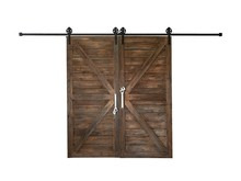 The Old Wooden Barn Door Isolate ON White Background.