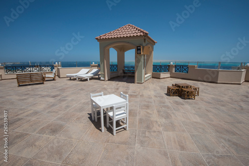 Roof terrace area with tropical sea view