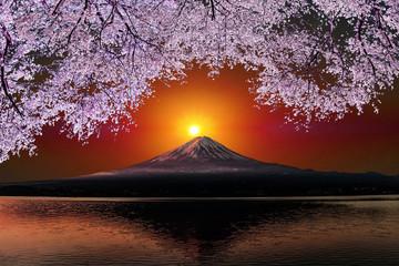 Panel Szklany Japoński 富士山と桜