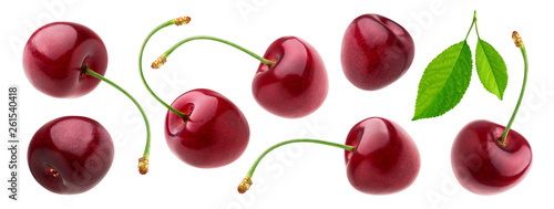Fototapeta Cherry isolated on white background with clipping path, fresh cherries with stem