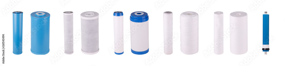 Fototapeta Set of filters isolated on white background. Polypropylene thread, Foamed, Pressed, granulated coal, Cation exchange resin, Polyphosphate. Reverse Osmosis Membrane. Purifies water chlorine.